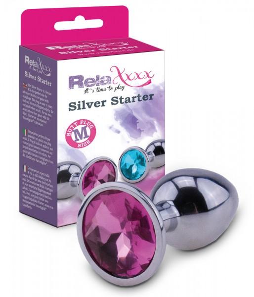 RelaXxxx Anal Plug Silver Starter Pink Größe M