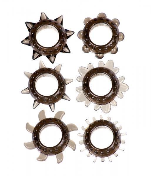 Linx Tickler Set Textured Ring Smoke 6 pieces