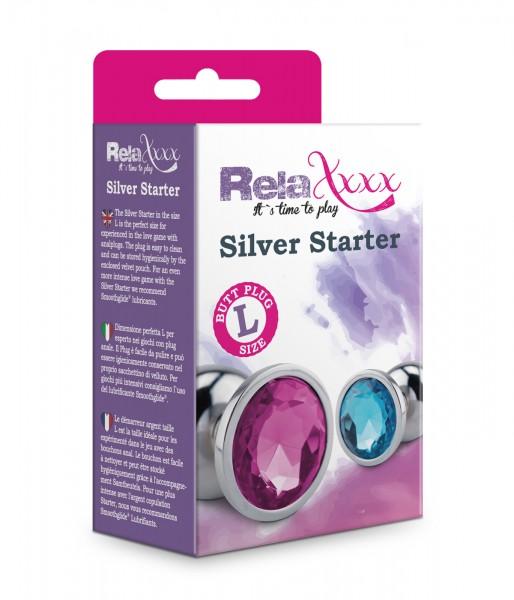 RelaXxxx Anal Plug Silver Starter Blue Größe L
