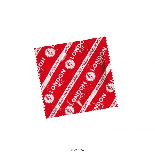 London Rot Kondome mit Erdebeeraroma 100 Stück