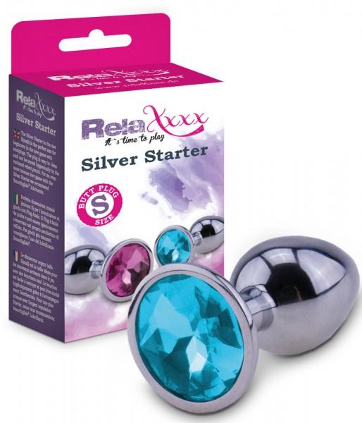RelaXxxx Anal Plug Silver Starter Blau Größe S