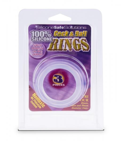 Cock & Ball Rings 3 pieces 40mm/45mm/50mm clear