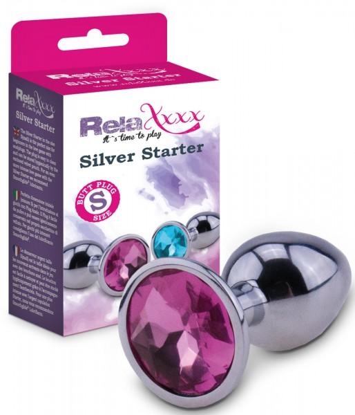 RelaXxxx Anal Plug Silver Starter Pink Größe S